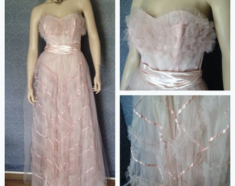 1950s, 1960s Strapless Pastel Petal Pink Prom Gown, Dress, Fit for a Bride, Tulle, Netting and Satin Ribbons