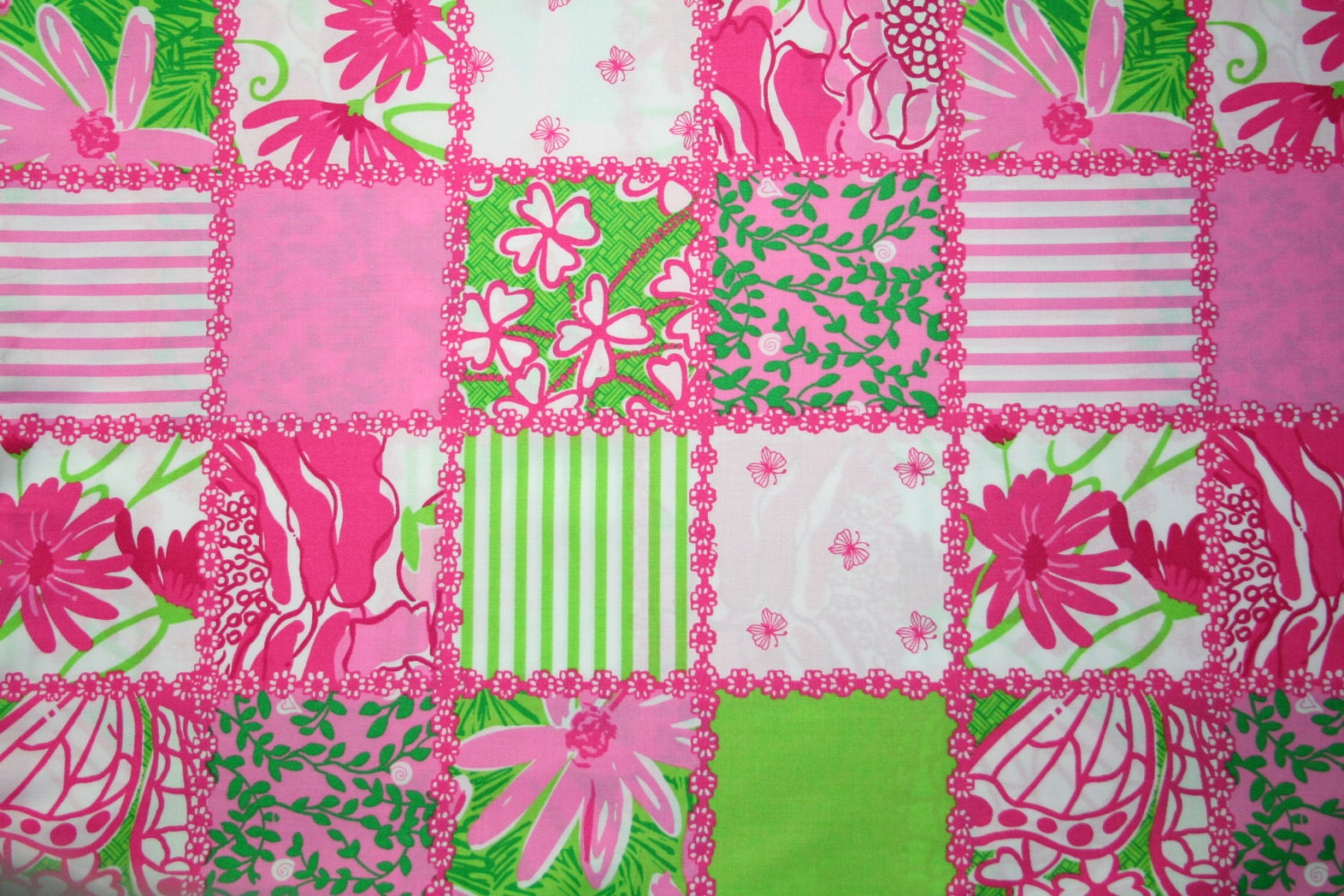 lilly pulitzer fabric patchtastic lilly pink green by