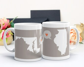 Friendship Gift, Personalized State to State Mug, State or Country Mug, Long Distance Miss You Moving Gift, Grandparent Gift, Friendship Mug