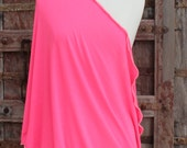 Ready To Ship-Lightweight Nursing Cover-Nursing Infinity Scarf-Hot Pink-Finished Edges in White