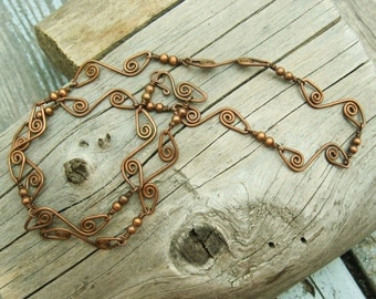 Handmade Copper Chain necklace - Wire wrapped antiqued copper bead link necklace