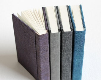 Mini Linen Notebook with Vintage Reproduction Endpapers - Soft Covers