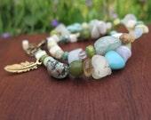 Earthy Double Stone Wrap Feather Bracelet - Crystal Gypsy Bohemian - Neutral Green Blue - Multi Strand Boho Beachy Jewelry Adjustable Brass
