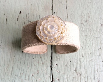 Grain Sack and Mother of Pearl Adjustable Cuff Bracelet