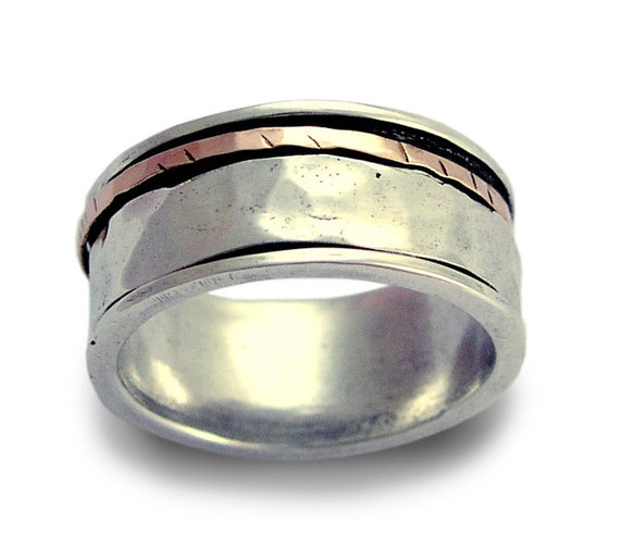 Fidget Wedding band, Sterling silver ring, rose gold ring, unisex ring, spinner ring, meditation ring, Men Two tones band - I Love R1149F