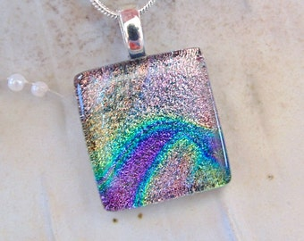 Dichroic Fused Glass Pendant, Fused Jewelry, Pink, Purple, Green, Necklace Included, A5
