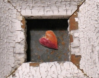 Let's Fall In Love - Heart Art - Original Mixed Media Assemblage - Architectural Salvage Wood Collage - Heart Wall Art - Wedding Art