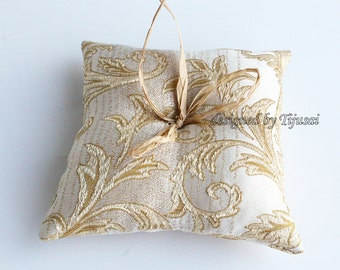 Beige Wedding ring pillow with golden leaves- ring cushion-ready to ship