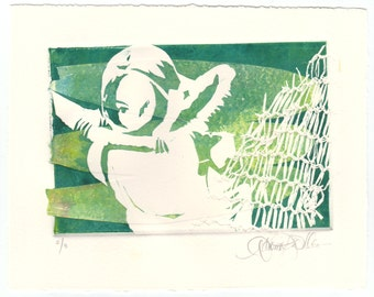 Original Art Print - Monotype in Aqua - Deep Sea II