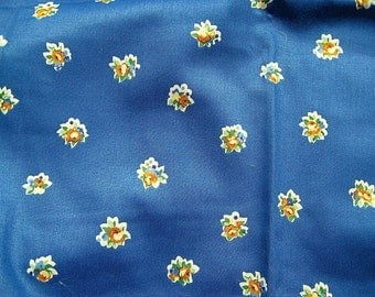 Blue floral cotton chintz fabric -  WAVERLY FABRIC - sewing supplies - quilting fabric -