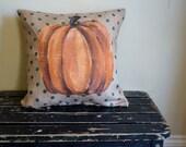 Pumpkin Burlap pillow - October - autumn - thanksgiving - outdoor indoor pillow -  fall