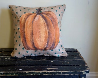 Pumpkin Burlap pillow - October - autumn - thanksgiving - outdoor indoor pillow -  fall