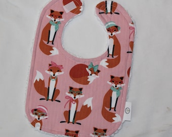 Pink Fabulous Foxes and Chenille Bib