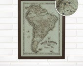 Personalized South America Push Pin Travel Map, Customized Vintage South American Pushpin Wall Map Art