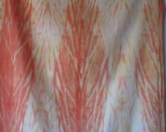 Shibori Pole-wrapped , Muslin Cotton Fabric, orange and Yellow