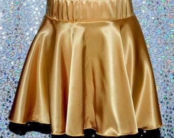 Gold Satin Skater skirt.. size 12 Med/Lg  . elastic waist..pull on..skater skirt..circle skirt.. dance, club wear, costume, theater