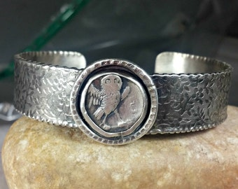 Cuff Bracelet, silver, and ancient owl  coin sterling  cuff, ancient coin jewelry, authentic coin