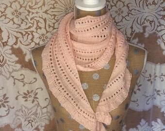 Scarf Shawl Women's Handknit Pink Wool Scarf or Shawlette
