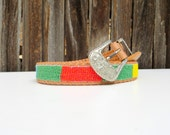 70's COLORBLOCK beaded belt // Native Leather Belt // 70s 80s style // high waisted
