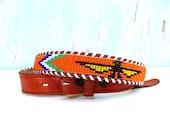 70's Orange Eagle beaded belt