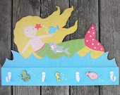 MERMAID Girls Bathroom Towel Rack/Nursery Room Peg Rack - Original Hand Painted Hand Crafted Keepsake