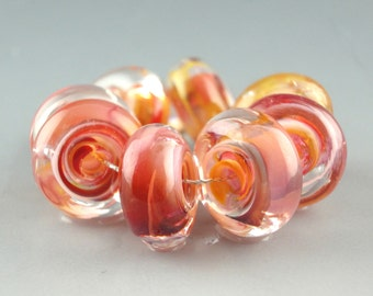 Handmade Lampwork Glass Beads, lampwork bead set, jewelry supplies, lampwork spacer bead, artist lampwork, Sunset in Sonoma