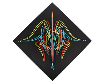 "Kustom Kulture Art - Pinstriped 8x8"" Canvas, Original Pinstriping on Cradled Canvas"