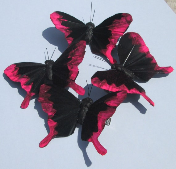 customized black feather swallowtail butterfly with neon pink design hand made hair clip