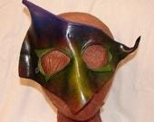 "Leather Masks for Halloween Mardi Gras Comedia Del Arte Masquerade OOAK ""green goblin"" Handmade by Debbie Leather"