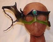 "Leather Masks for Halloween Mardi Gras Comedia Del Arte Masquerade OOAK ""GREEN JEWEL"" Handmade by Debbie Leather"