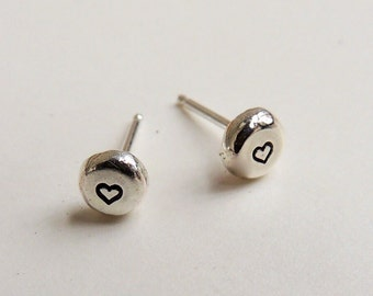 Tiny Sterling Silver Heart Stud Post Earrings