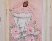 Ice Cream and Roses, HandPainted 5 X 7 Distressed Wood Framed Canvas with Glitter, Home, Dining, Kitchen Accent, ECS