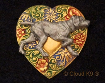 WEIMARANER JEWELRY: BROOCH Pin. Handpainted Heart Pin. Weimaraner Jewelry Gift. Weimaraner Gifts. Hunting Dog on Point.