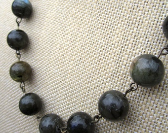 Eau Gelee Necklace - semiprecious iridescent grey labradorite beads on bronze necklace - Free Shipping to USA