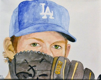 Clayton Kershaw Los Angeles Dodgers 8x10 Watercolor Painting