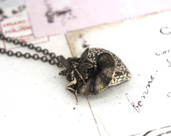 fairy locket. flower vine necklace. brass ox jewelry and lily pad