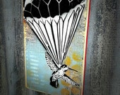 Parachuting Hummingbird Graffiti Painting on Canvas Pop Art Style Original Artwork Stencil Urban Street Art Bird Art