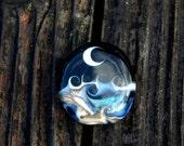 Crystal Moon, Focal Bead, Handmade Artisan Glass Lampwork Bead, Simply Lampwork by Nancy Gant SRA G55