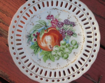 Three Porcelain Plates for Hanging - Collectible Fruit Plates - Wedding Gift