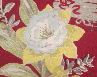 Vintage Cotton Print Fabric - Burgundy Floral Yardage - Sewing Supplies