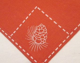 Four Vintage Cotton Placemats and Napkins - Rusty Orange With White Pine Cones - Fall/ Autumn