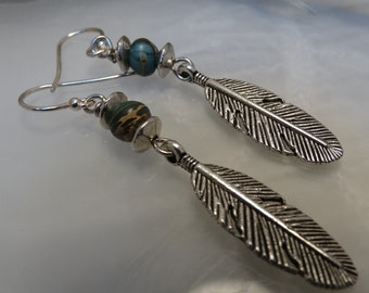 Silver feather and impression jasper earrings.