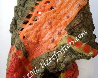 20% OFF - Green and Orange Nuno Felt Shawl Wrap All Season Shawl - Art to Wear - Nuno Felted Accessory