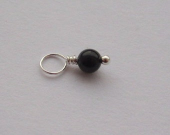 Black Onyx 4mm Sterling Silver Dangle Charm, With or Without Sterling Silver Jump Ring
