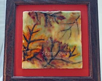 Leaves in the mist - encaustic wax painting