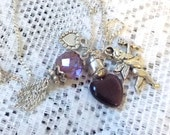 Purple Cherub Necklace, Vintage Silver Tone, glass beads gemstones, Original Silver tone chain, New, never worn, Tassel, Heart