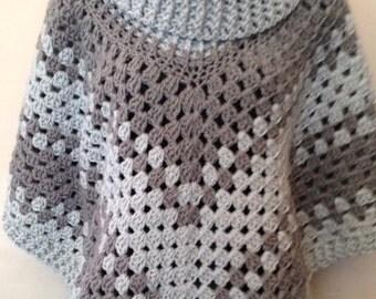 SALE Boho Cowl Poncho Womens Crochet Accssories, Cowl Shawl Wrap, Cowl Poncho, Poncho, Gray, Light Gray, Poncho, Crochet Accessory