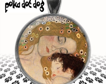 Mother and Child -- Gustav Klimt Art Large Glass-Covered Pendant