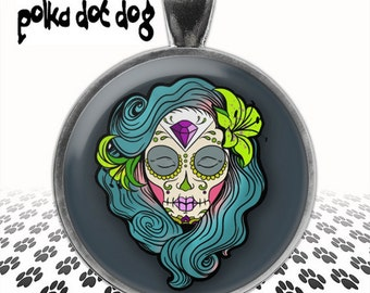 Teal Sugar Skull -- Day of the Dead Large Glass-Covered Pendant