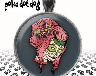 Pink Sugar Skull -- Day of the Dead Large Glass-Covered Pendant